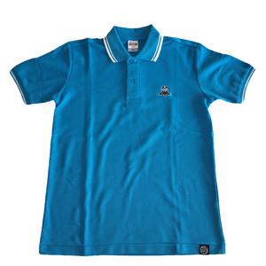 現品限り【キッズサイズポロ!】LET'S KENDO‼刺繍ロゴ入りラインポロシャツ/ターコイズ