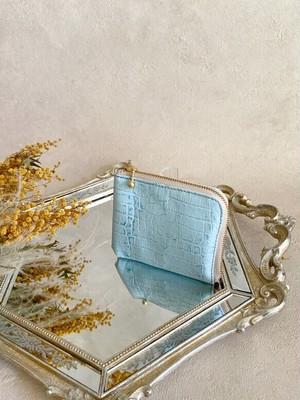 大きい L字財布 本革 カードケース クロコダイル 水色
