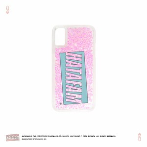 """HATAFAM Logo"" Glitter iPhone Case - Pink Heart"