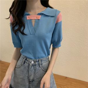 【トップス】ファッション切り替えパフスリーブシンプルTシャツ43754567
