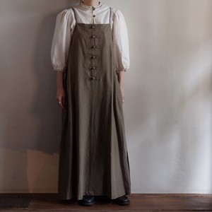 Select Item / French Linen China button Cami Dress # mocha brown / フレンチ リネン キャミ ドレス