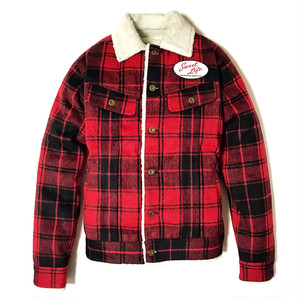"""DUCKTAIL CLOTHING """"SWEET RIDER"""" RED ダックテイル クロージング ボア チェックジャケット"""