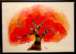 水彩画*紅葉の木