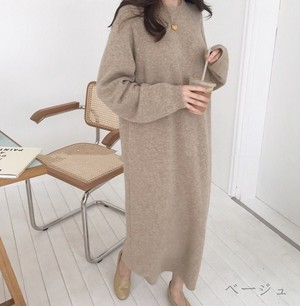 Crew neck knit simple long dress