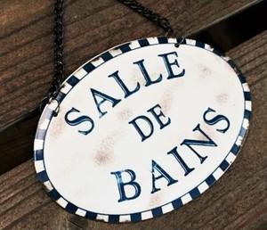 フランスの小さな街から~ フレンチレトロなバスルームのドアプレート/SALLE DE BAINS