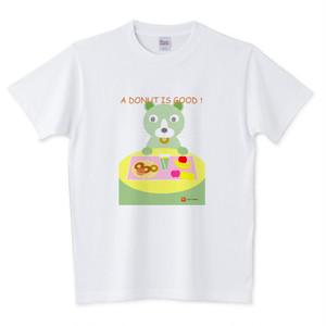 Tシャツ ニャンコ・ドーナツ(グリーン)