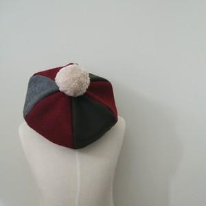 リバーシブル ベレー帽 ☆ グレー カーキ ボルドー × ネイビー チェック