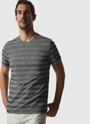 TEXTURED T-SHIRT WITH STRIPES