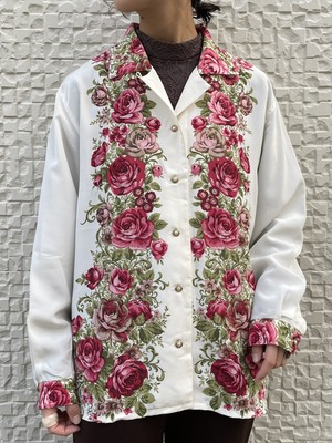 (TOYO) flower pattern open collar shirt