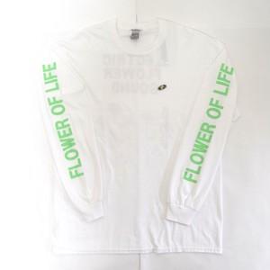「レコードワッペンロングTシャツ(ELECTRIC FLOWER)」ホワイト S/M/L/XL WATERFALL新作