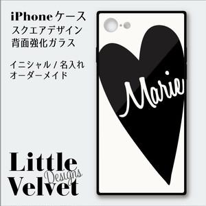 ハート×お名前ロゴ お名入れができるiPhoneケース/スクエア型強化ガラス [PC548WT] ホワイト