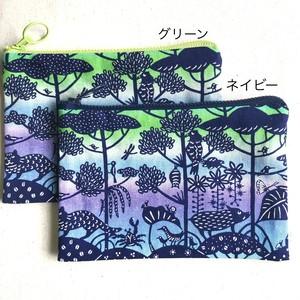 ぺったんこポーチ M 紅型デザイン 琉球の森 青グラデーション