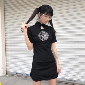 【ワンピース】エスニック系春夏レトロスリム刺繍スタンドネック半袖ショートワンピース