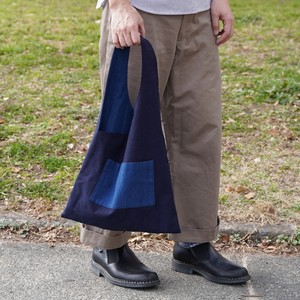 武州正藍染 リバーシブル手提げバッグ 濃紺/あさぎ