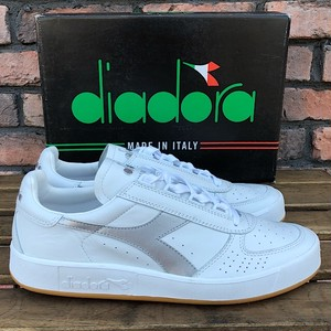 Deadstock Diadora B.Elite White/Silver Made In Italy UK9.5