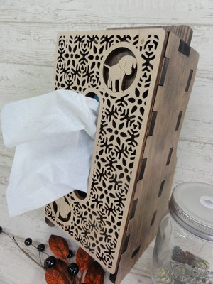 木製ティッシュケース ~ Wooden tissue case ~・フロントカバー付き