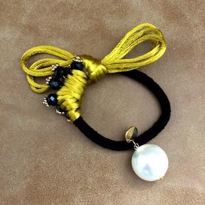 Yellow&Black シンプルかっこいい創作ヘアゴム