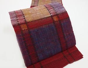 ☆90987☆未使用美品 八寸帯 夏物 変わり織 格子模様