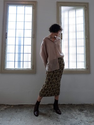 flower jacquard skirt(beige)