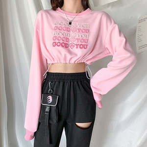 1066レディース パーカー スウェットシャツ トップス ヒップホップダンスウェア ダンス衣装 長袖 ショート丈 パーカー ゆったり ピンク
