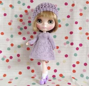 ブライスニットドレス+帽子セット:薄紫