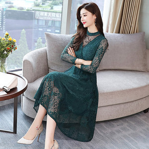 【dress】Lace slimming temperament long formal dress