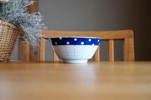 砥部焼/麺鉢/水玉とカラフルドット/皐月窯