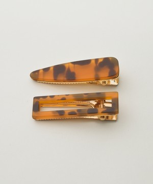 Tortoiseshell Collar Hair Clip 2 Set