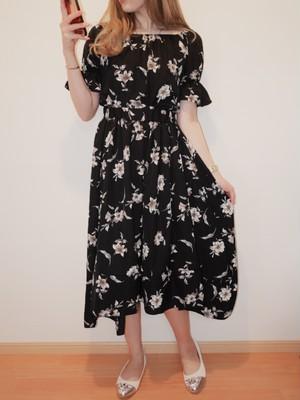 花柄シフォンスカート(ブラック)