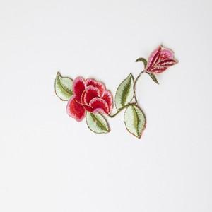中華アップリケ 花・つた 赤