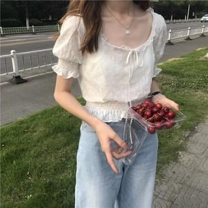 【トップス】スウィート韓国風春夏ファッションリボンバンド飾りショート丈半袖シャツ