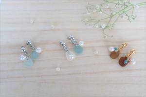 真珠とシーグラスのイヤリング