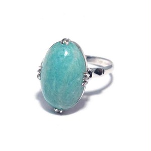 Vintage Japanese Ring - K14WG Amazonite Color #12.5