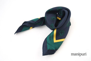マニプリ|manipuri|プリントシルクスカーフ|ネイビー×グリーン|53cm×53cm