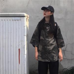 【トップス】夏新作原宿風レトロカモフラカジュアルシャツ