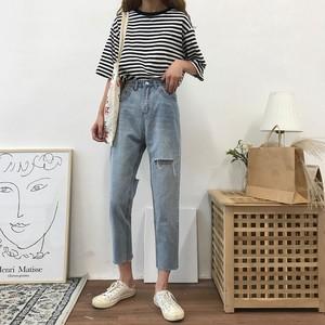 【bottoms】ファッションダメージ加工無地デニムパンツ22488569