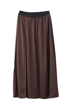 イージーサテンナロースカート < ブラウン >