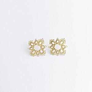 YulariceTatting lace pierced earring squere SV925+K18gp