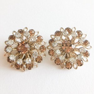 brown rhinestone flower earring[e-1094]