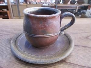037 備前焼 コーヒーカップ&ソーサー