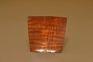 A-06104 「拭き漆栗扇形銘々皿」    有岡 成員