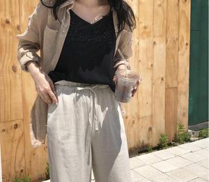綿とリネン UVカットシャツ 2色 長袖シャツ