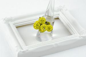 ラインストーンパヴェボールリング pve-ringcitron6 シトロン (黄色) 指輪 パヴェ