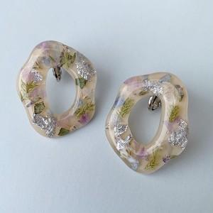 【earring】puddle flower / beige