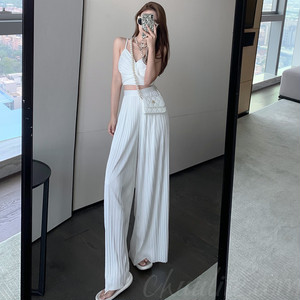 【セット】「単品注文」ファッションノースリーブVネックプルオーバーキャミソール+パンツ46627354