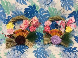 ハワイアンリボンレイ【(レシピなし)和柄リボンのお正月しめ縄リース】 キット