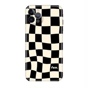 Blackチェスチェックレトロポップ iPhoneケース  30