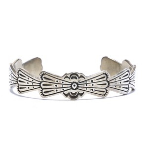 Navajo Vintage Sterling Silver Wing Stamp Bangle by Joe Delgarito