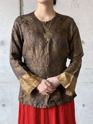 Vintage Jacquard Weave Silk China Shirt