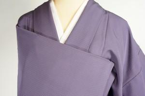 未使用【夏】色無地 絽 一つ紋 正絹 江戸紫 紫 524